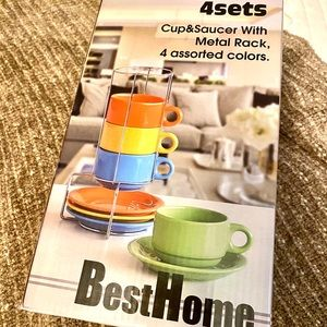 Best Home| 4 Set Mug&Saucers With Metal Rack